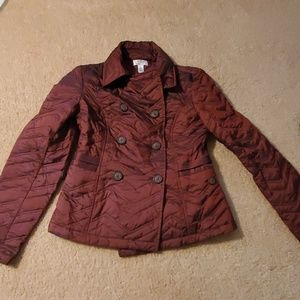 LOFT burgundy quilted jacket
